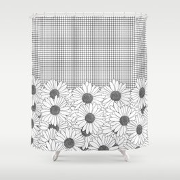 Daisy Grid Shower Curtain