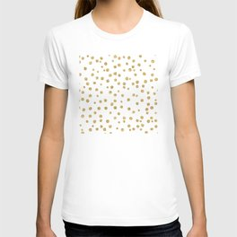 Gold glitter confetti on white - Metal gold dots T-shirt