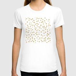 Gold glitter confetti on white - Metal gold dots T-shirt