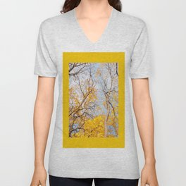 Yellow autumn leaves on trees in park Unisex V-Neck