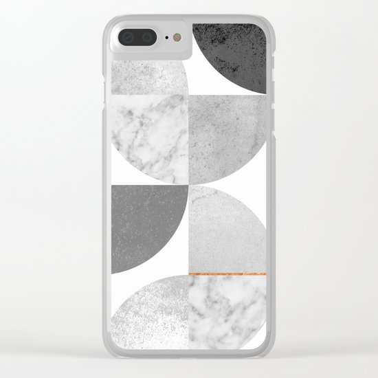 Marble Gray Copper Black and white circles Clear iPhone Case