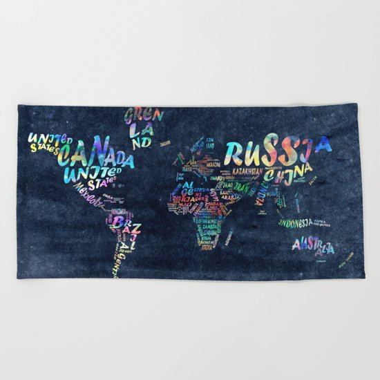world map typography watercolor 4 Beach Towel
