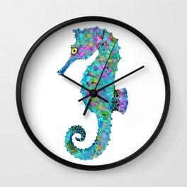 Colorful Seahorse - Whimsical Beach Art - By Sharon Cummings Wall Clock