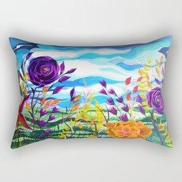 Summer Spectacular, Abstract Floral Landscape, Bright Wild Flowers Rectangular Pillow