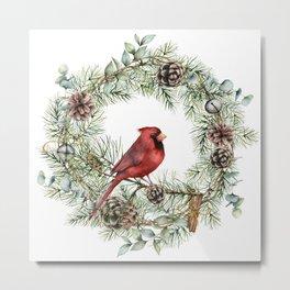 Cardinal Christmas Wreath, Floral Prints Metal Print