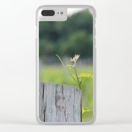 Grape Vine on Wood Post 2 Clear iPhone Case