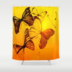 Fly fly butterfly! - Butterflies on a orange background with sunlight #society6 #buyart Shower Curtain