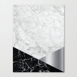 White Marble Black Granite & Silver #230 Canvas Print