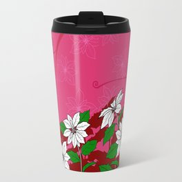 Christmas White Poinsettia Flowers with Red Accents Travel Mug