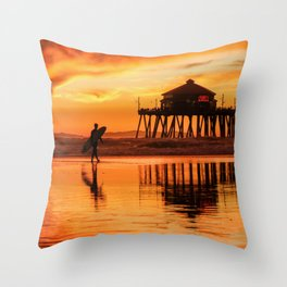 HB Sunset Surfer 12-16-18 Throw Pillow