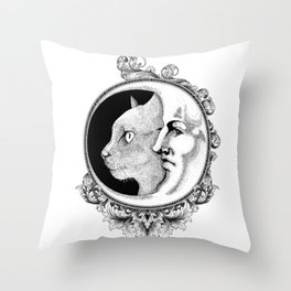 The cat & The moon Throw Pillow