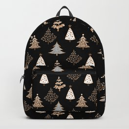 Seamless Merry Christmas abstract fur tree pine tree black Backpack