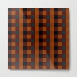 Scottish pattern in orange, black and gray cage. #society6 #decor #buyart #artprint Metal Print