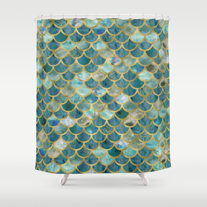 Mermaid Scales Pattern In Teal And Gold Shower Curtain