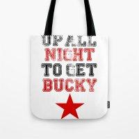 bucky barnes Tote Bags featuring Up All Night Bucky Barnes by BethTheKilljoy