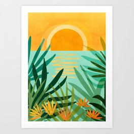 Peaceful Tropics / Sunset Landscape Art Print
