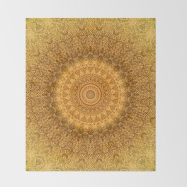 Sunflower Feather Bohemian Sun Ray Pattern \\ Aesthetic Vintage \\ Yellow Orange Color Scheme Throw Blanket