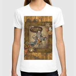 Awesome steampunk women with owl T-shirt