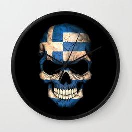 Dark Skull with Flag of Greece Wall Clock