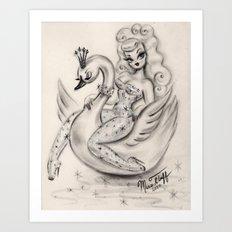 Swan Girl Art Print