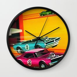 Vintage Hot Wheels Redline Dual-Lane Rod Runner Racing Poster Trade Print Wall Clock