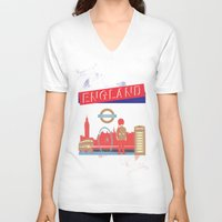 london V-neck T-shirts featuring LONDON by famenxt