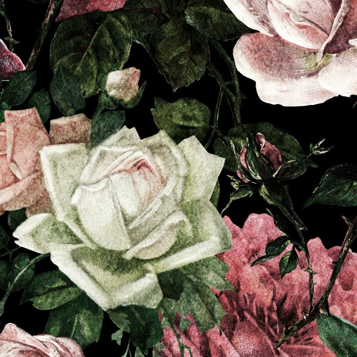 Vintage & Shabby chic - dark retro floral roses pattern Leggings