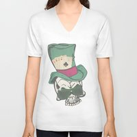 poker V-neck T-shirts featuring Poker Face by Ewan Arnolda