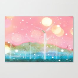 wind turbine in the desert with snow and bokeh light background Canvas Print