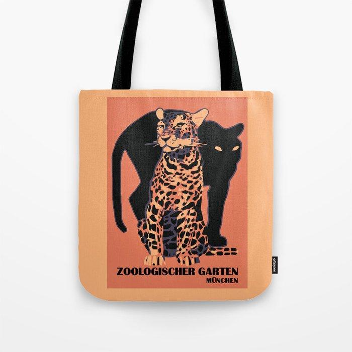 Retro vintage Munich Zoo big cats Tote Bag
