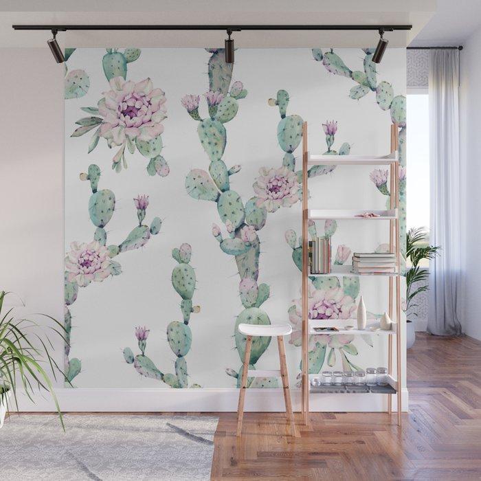 Arizona Desert Rose Cactus Pattern Wall Mural