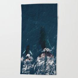 Ocean Family Whales Beach Towel