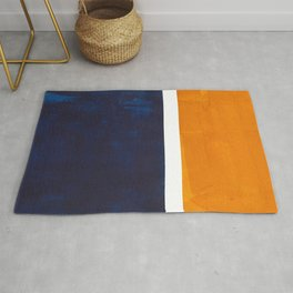 Navy Blue Yellow Ochre Abstract Minimalist Rothko Colorful Mid Century Color Block Pattern Rug