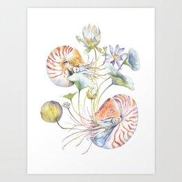 Nautilus and Lotus Surreal Watercolor Sea Animal Botanical Design Art Print