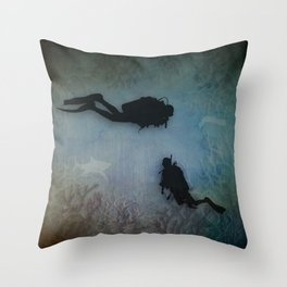 Scuba Divers Throw Pillow