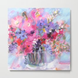 Bitsy Blooms Bouquet Metal Print