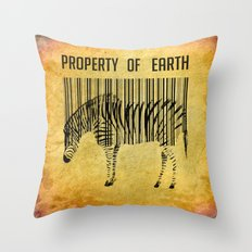 The encoded zebra Throw Pillow