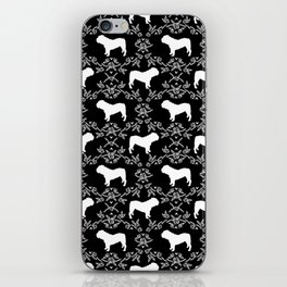 English Bulldog silhouette florals black and white minimal dog breed pattern print gifts bulldogs iPhone Skin