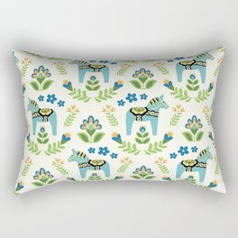 Swedish Dala Horses Teal Rectangular Pillow