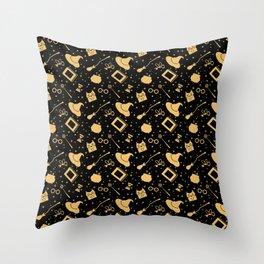 Magic symbols (black) Throw Pillow