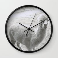 llama Wall Clocks featuring Llama by Cat In The Sorting Hat