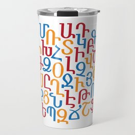 ARMENIAN ALPHABET MIXED - Red, Blue and Orange Travel Mug