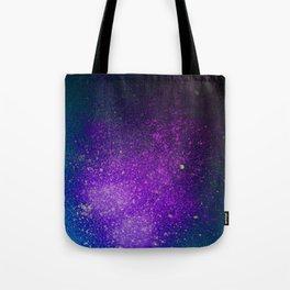 """Purple Stars Paint splatter on Deep Blue """"Dream On"""" Tote Bag"""