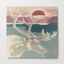 Deer and Sunrise Vintage Art Metal Print