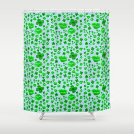 Green Poppies on blue Shower Curtain