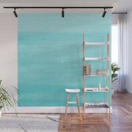 Aqua Blue Watercolor Ombre Pattern Wall Mural