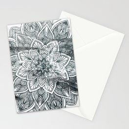 Indie Floral Mandla on White Marble Stationery Cards