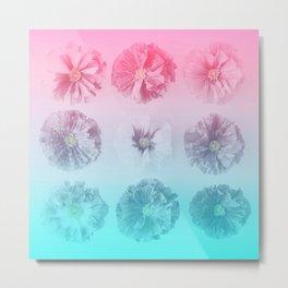 Blue Gradient Flower Grid Metal Print