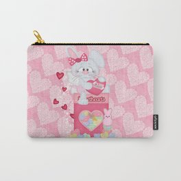 Valentines Bunny and Sweet Heart Candy Carry-All Pouch