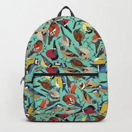 winter garden birds green Backpack